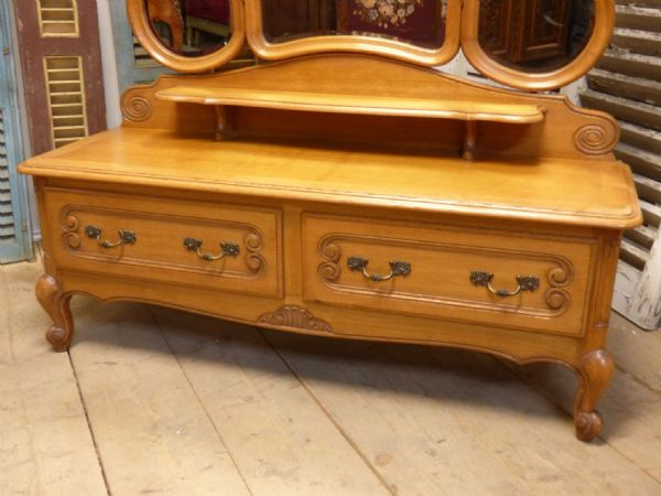 Vintage Oak French Dressing Table  - Quality Solid Oak Example - ha16